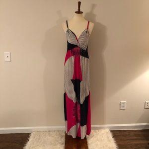 Radzoli Blue & Pink Sleeveless Maxi SunDress